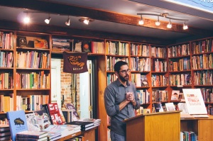 Danielle Campbell Photography. Trocchia reading at Chop Suey Books in Richmond, VA.