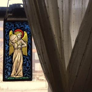 The stained glass angel, which used to be Rachel's grandmother's.